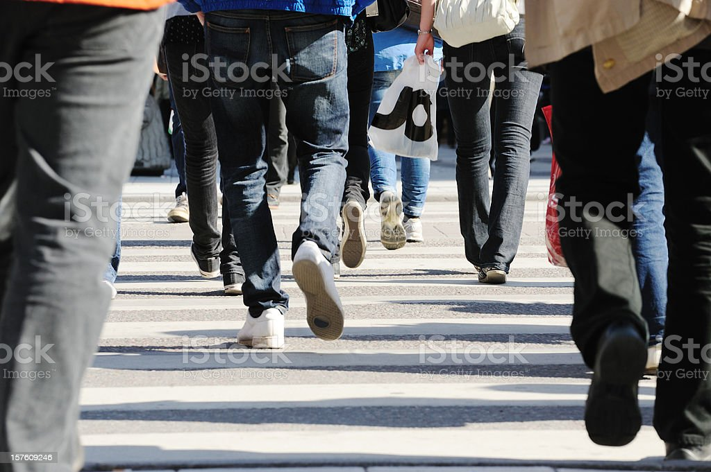 People crossing street royalty-free stock photo