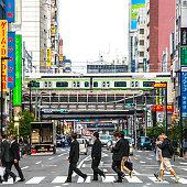People crossing the street in Akihabara, Tokyo.