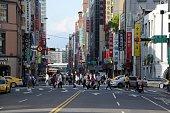 People crossing the street in Taipei, Taiwan