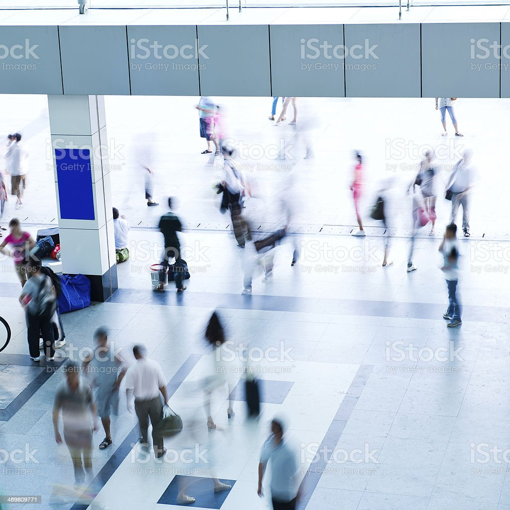 people crowd in motion stock photo