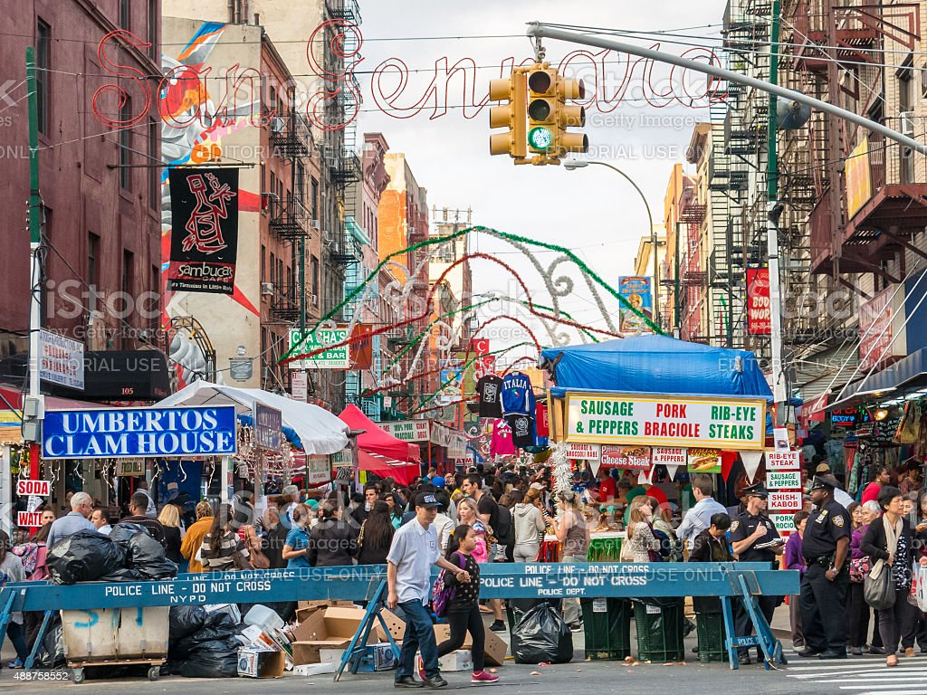 People crowd into Mullberry Street to celebrate San Gennaro, NY stock photo