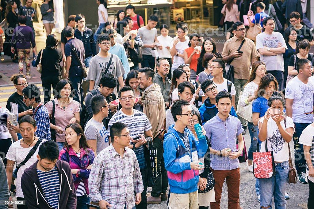 People Crowd waiting at street in Hong Kong, China stock photo