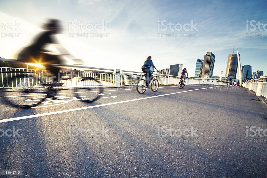 People cycling in Vilnius, Lithuania stock photo