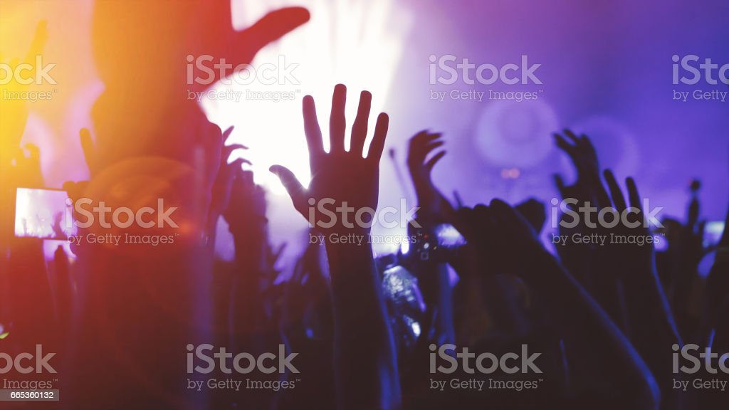 People dancing at concert and partying at festival stock photo