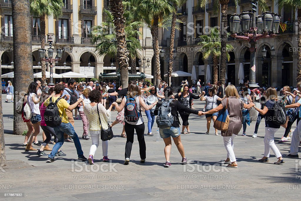 People dancing in Barcelona stock photo