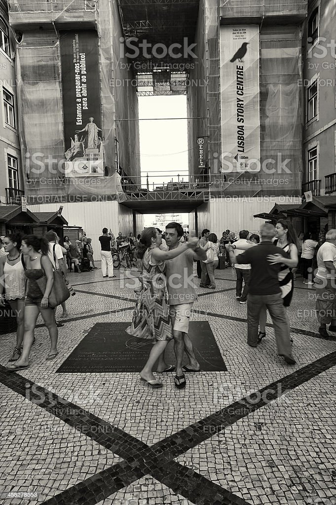 People Dancing in Lisbon royalty-free stock photo