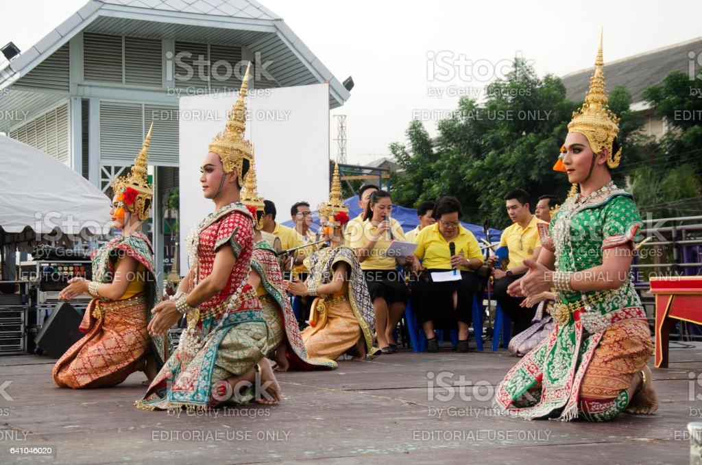 People dancing supreme thai mask or Khon dance drama stock photo