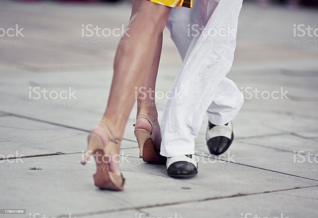 people dancing tango in the streets royalty-free stock photo