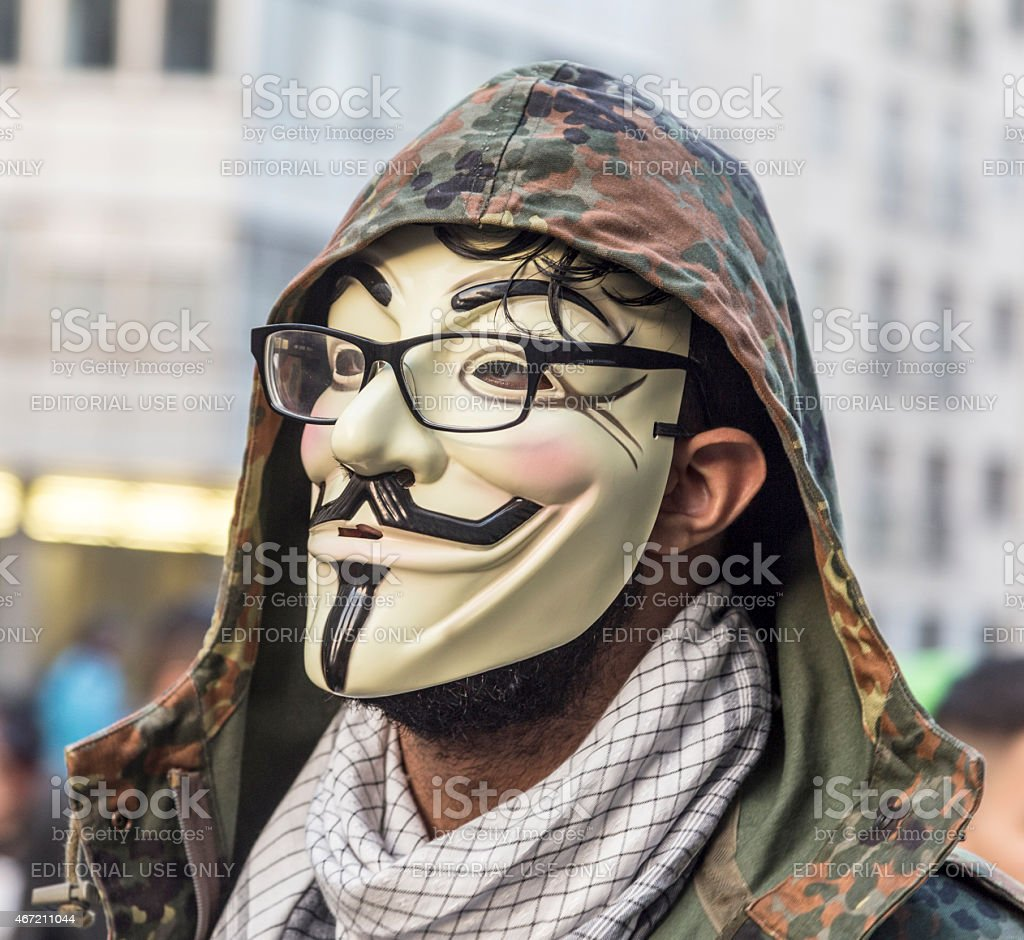 people demonstrate against EZB and Capitalism in Frankfurt stock photo