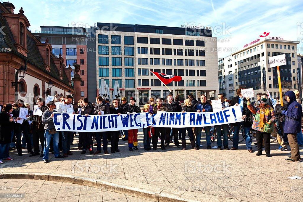 People demonstrate for return of Karl Theodor zu Guttenberg stock photo