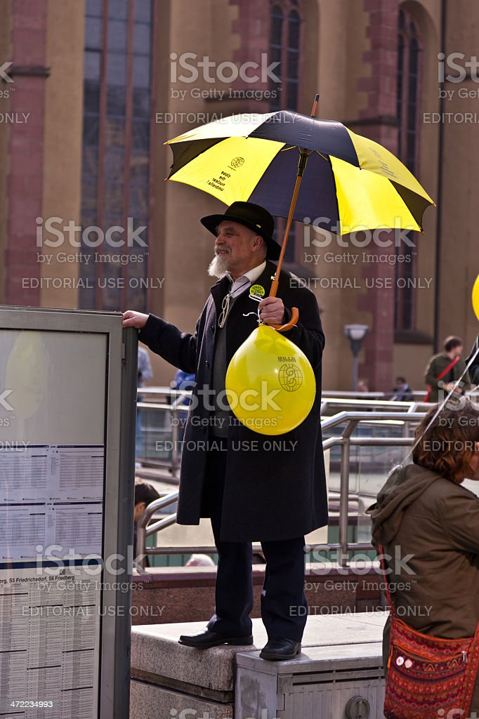 People demonstrate for shutting down the German nuclear power pl stock photo