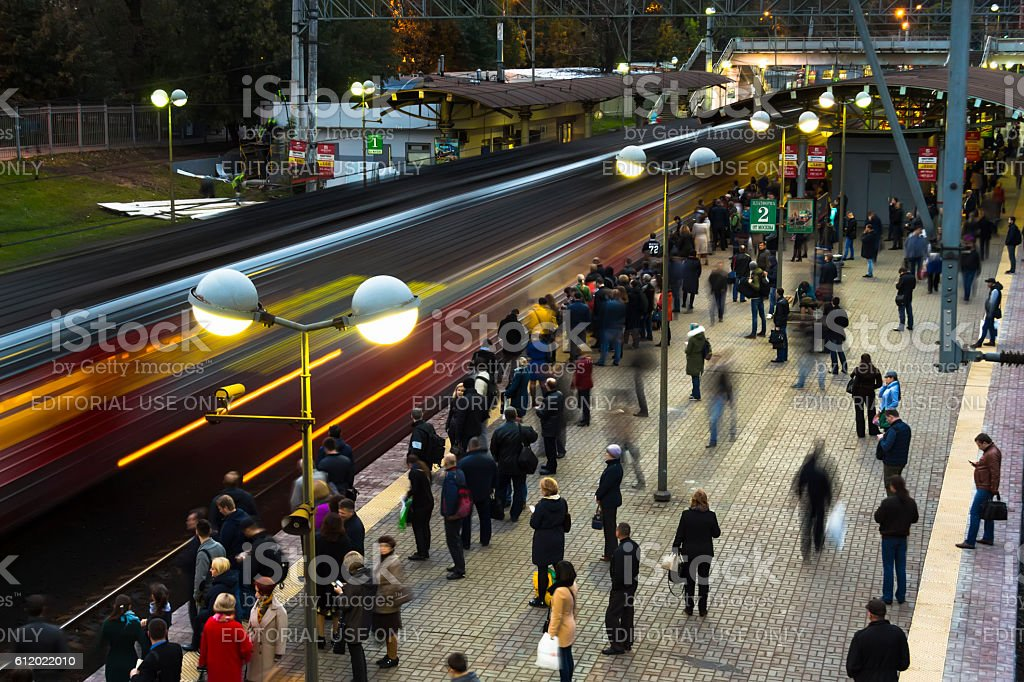 people depart home on train stock photo