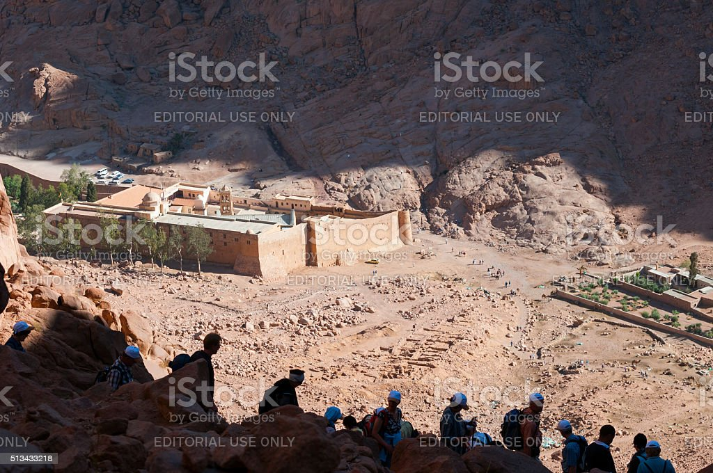 People descending Mount Sinai in Egypt stock photo