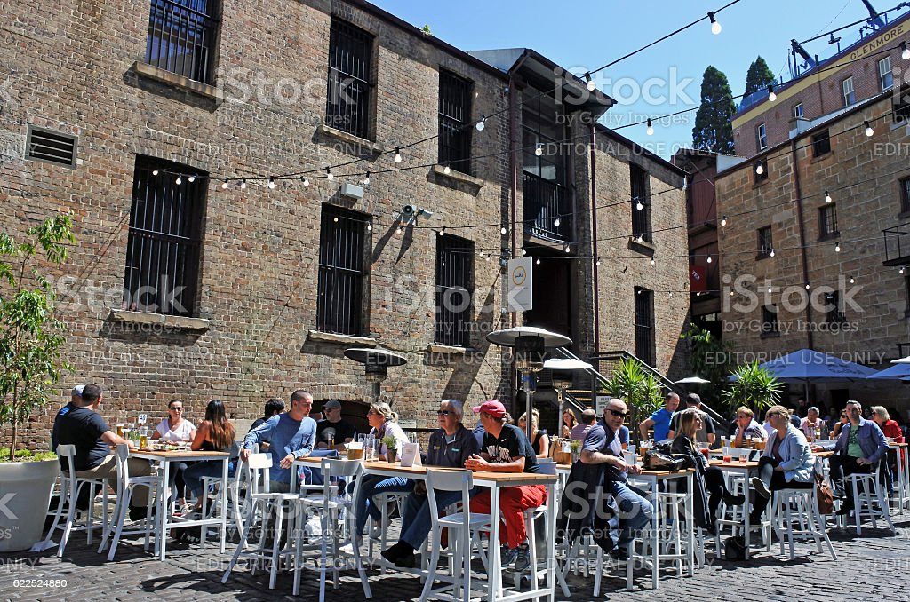 People dinning outdoors at The Rocks in Sydney Australia stock photo