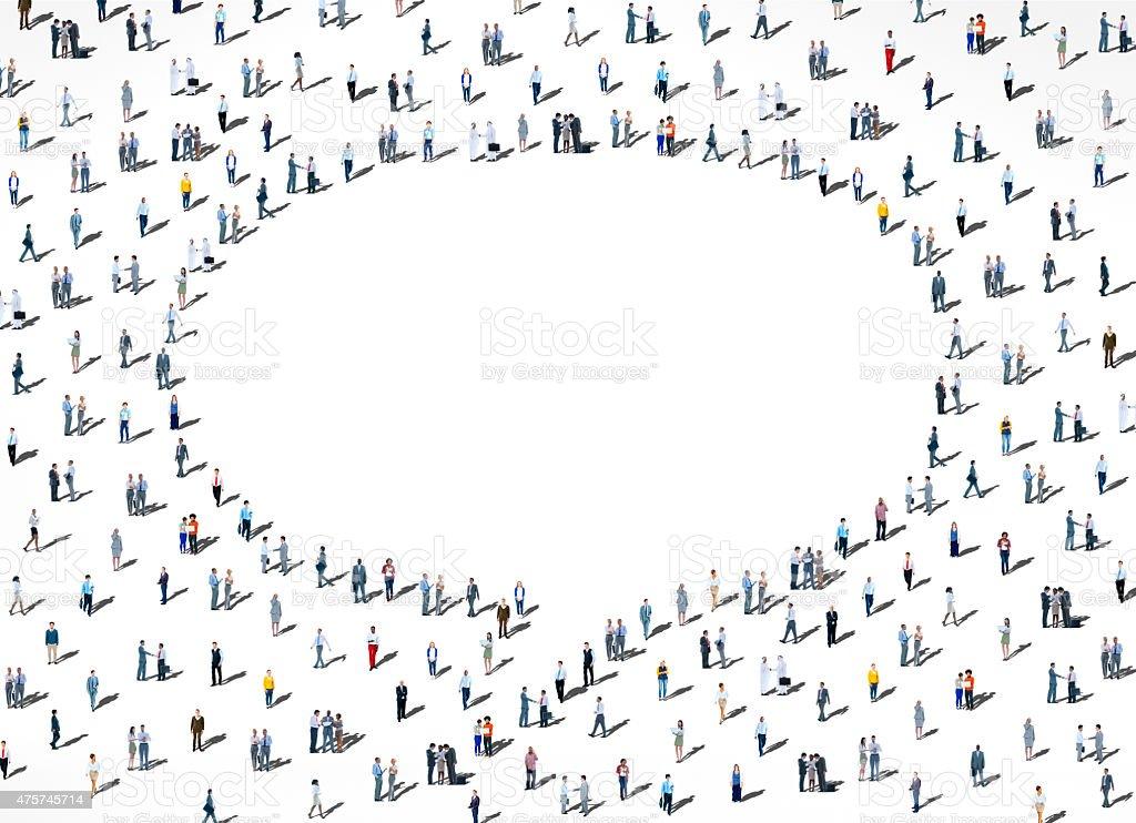 People Diversity Crowd Community Communication Speech Bubble Con stock photo