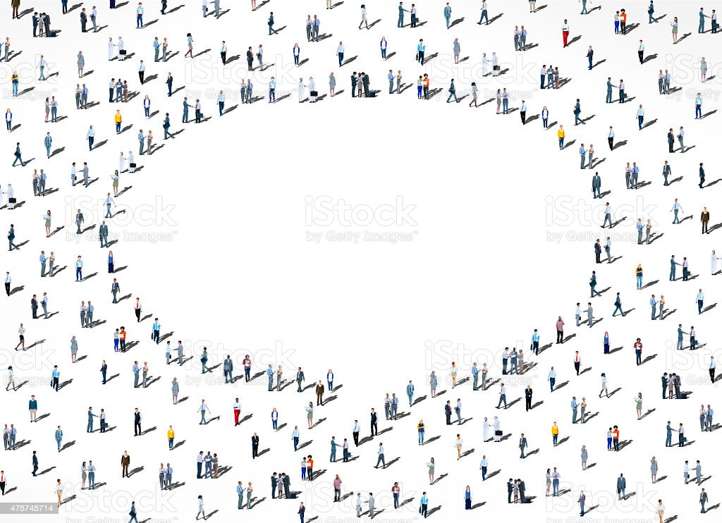 People Diversity Crowd Community Communication Speech Bubble Con stock photo