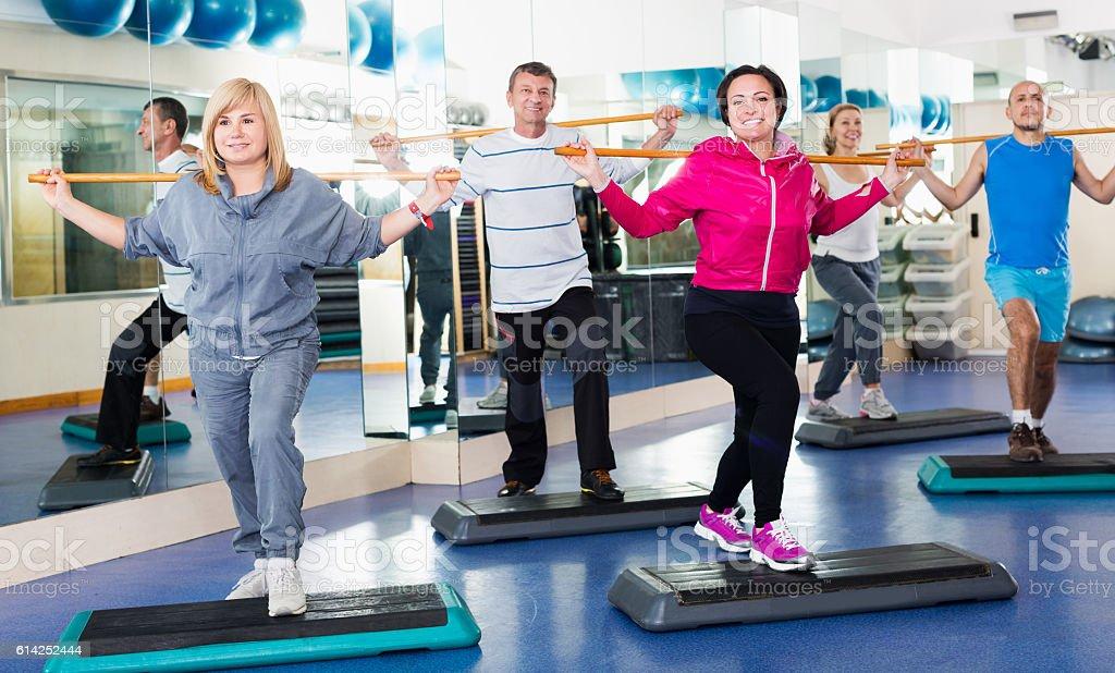People do aerobics and gym stock photo