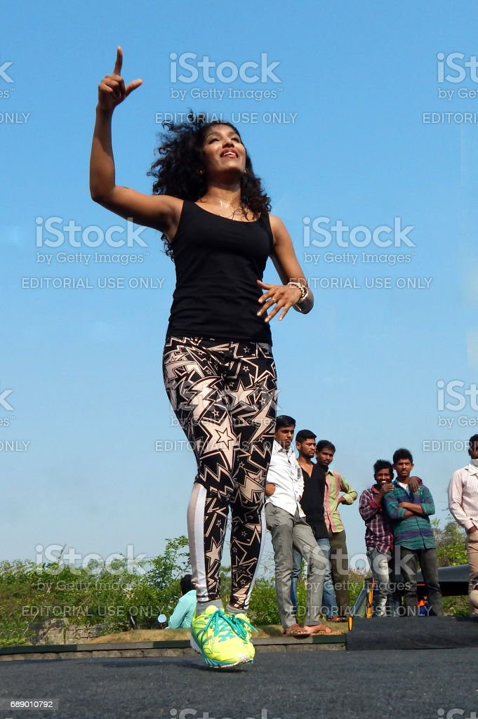 People do Zumba dance and train interested paricipants on physical literacy Sundays on streets with no traffic, Hyderabad stock photo