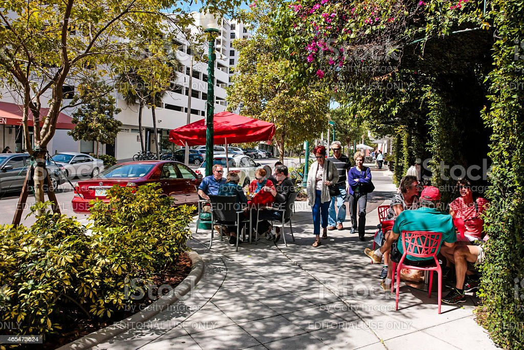 People doing early Brunch in downtown Sarasota Fl stock photo