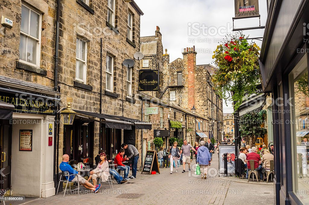 People doing shopping and enjoying a warm autumn day outdoor stock photo