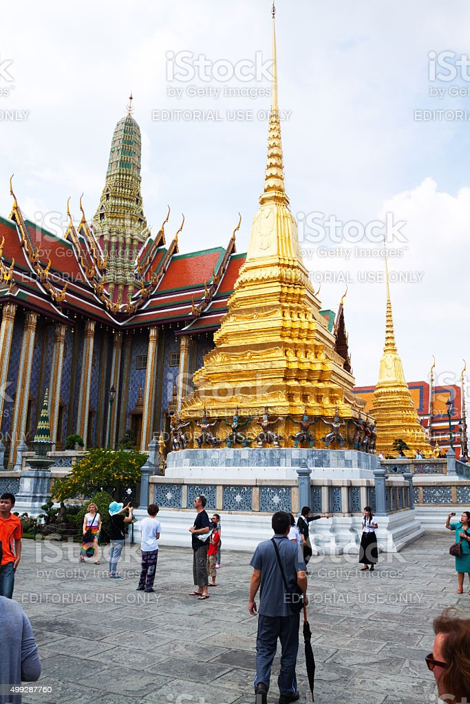People doing sight seeing in Wat Phra Kaeo stock photo