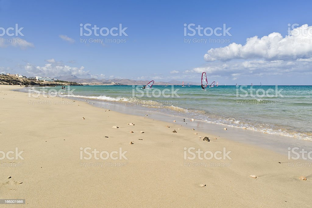 People doing Windsurf in Fuerteventura royalty-free stock photo