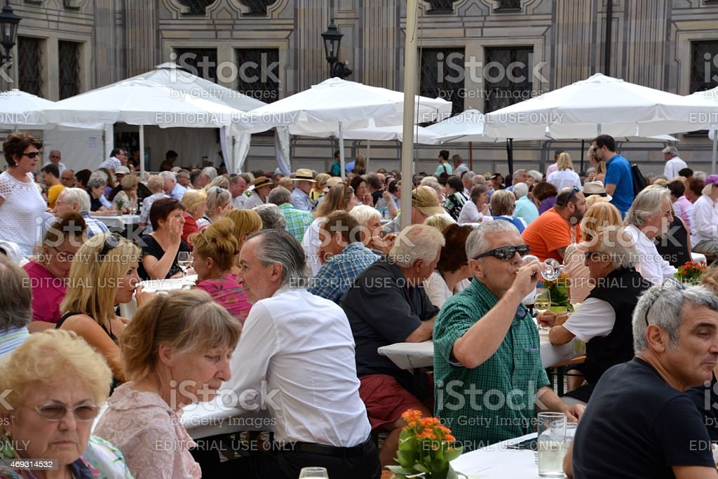 People drinking at a Wine festival in Munich, Germany stock photo