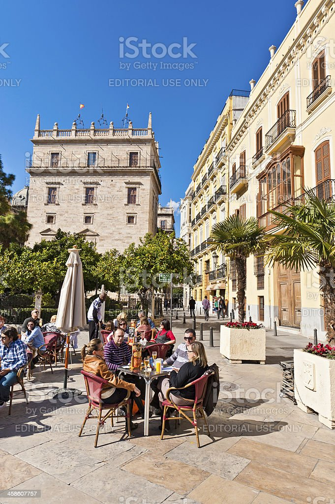 People drinking at pavement cafe Valencia Spain stock photo