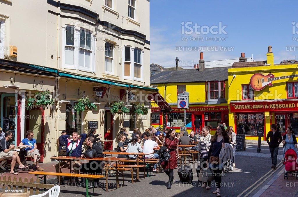 People drinking at pub - Brighton North Laines stock photo