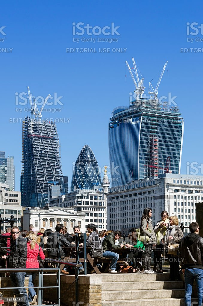 People drinking outside a pub, central London royalty-free stock photo
