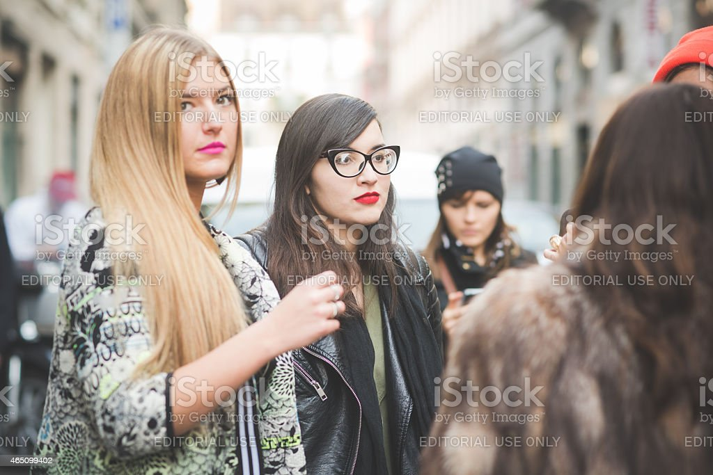 People during Milan Fashion week, Italy on February, 27 2015 stock photo