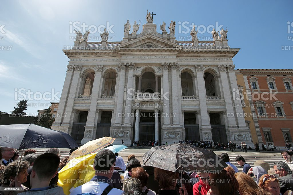 People during the settlement of Pope Francis at St. John stock photo