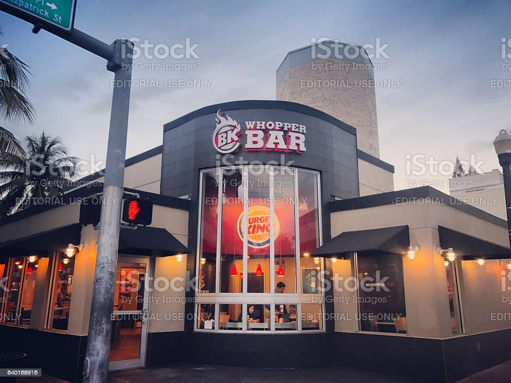 People eating inside Whooper Bar on South Beach. USA stock photo