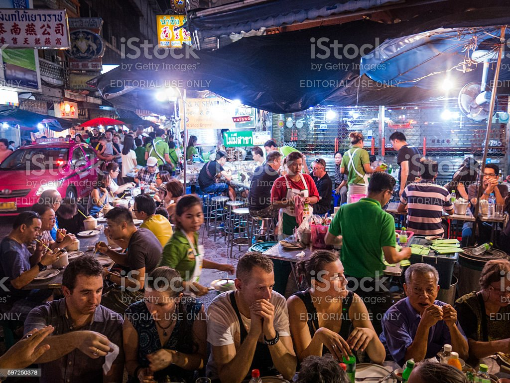People Eating Like Locals Travel Street Food Asia stock photo