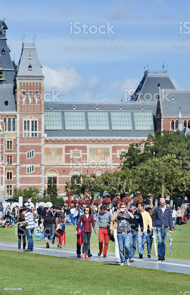 People enjoy a summer day on Museum Square, Amsterdam stock photo