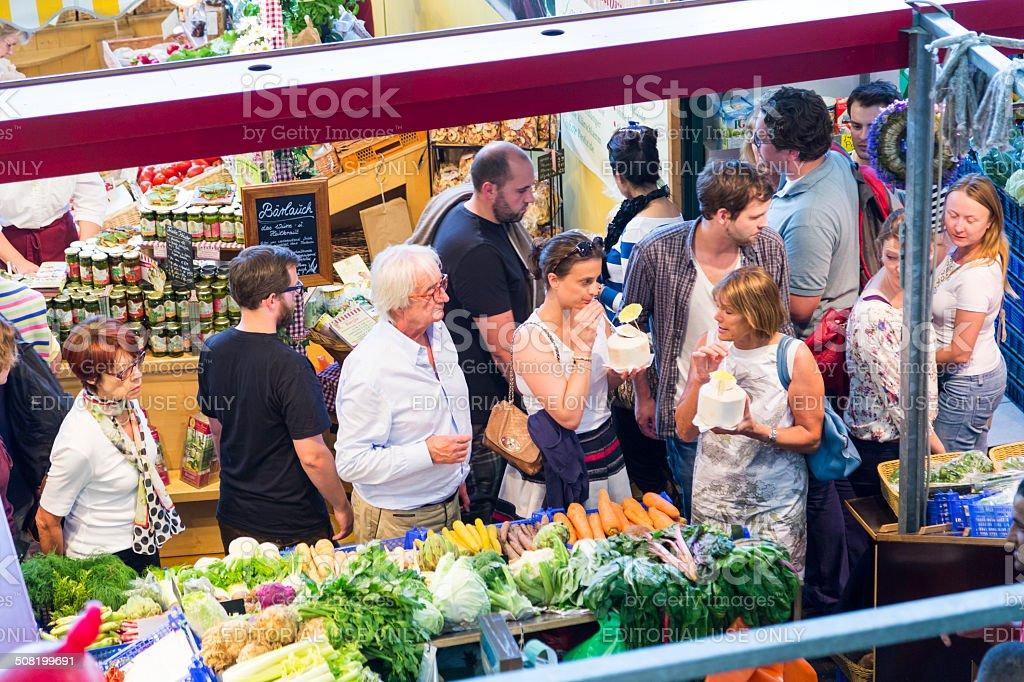 people enjoy shopping in the Kleinmarkthalle stock photo