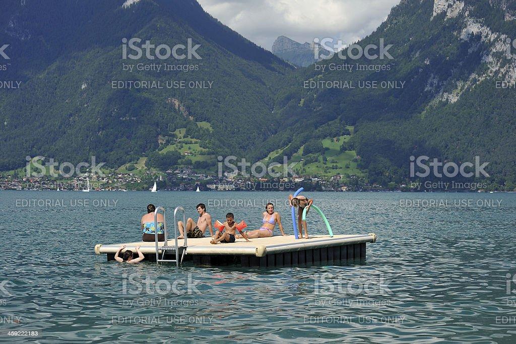People Enjoy Summer in Lake Thun royalty-free stock photo