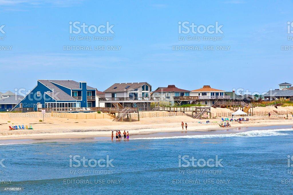 People enjoy the beach and sea of Nags Head stock photo