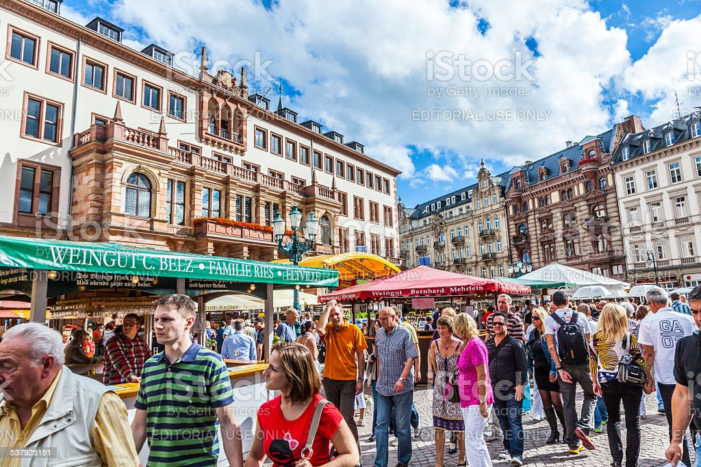 people enjoy the market at central market place in Wiesbaden stock photo