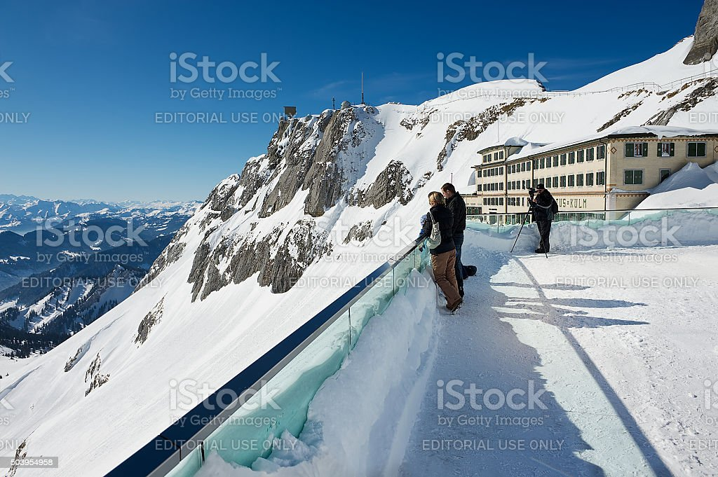 People enjoy the mountain view in Lucern, Switzerland. stock photo