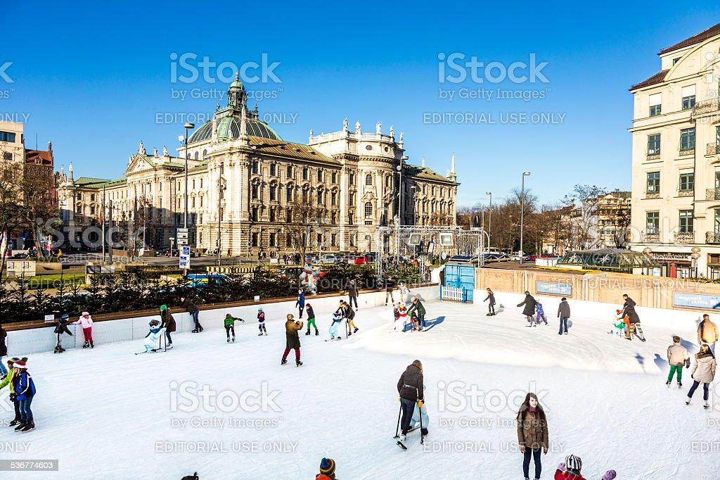 people enjoy the Munich  EisZauber stock photo