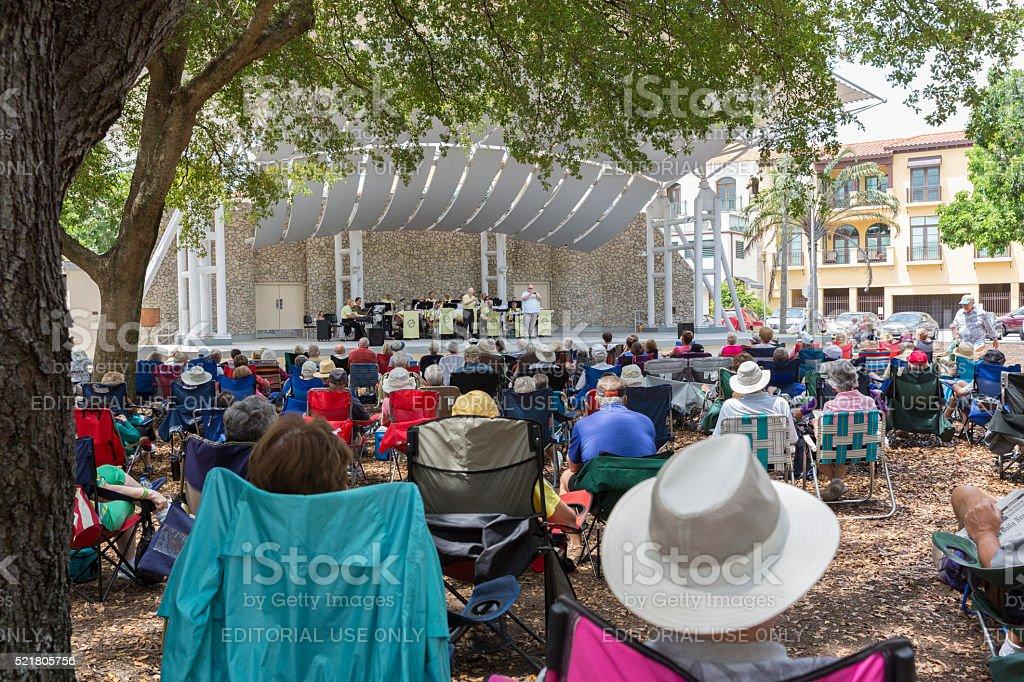 People Enjoy the Music of the Gulf Coast Big Band stock photo