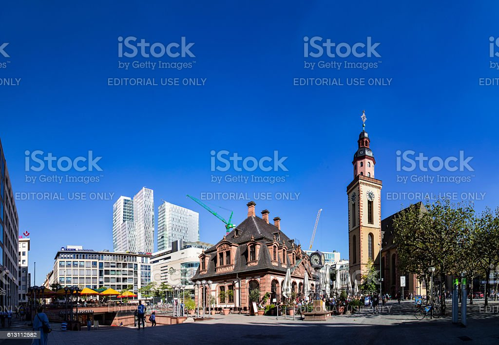 people enjoy the sunny day  in Frankfurt stock photo