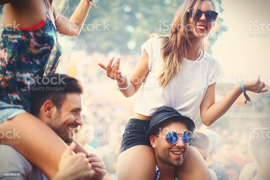 People enjoying a concert. stock photo