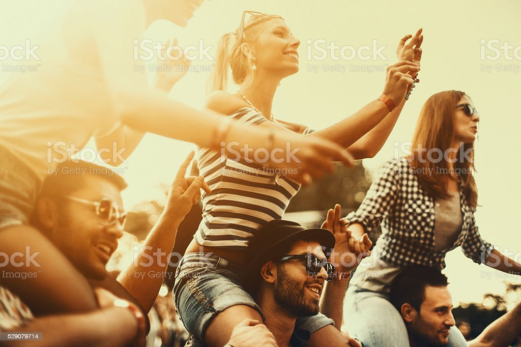 People enjoying a concert. stock photo