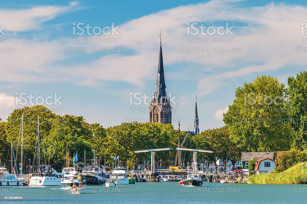 People enjoying a sunny summer day on the river Vechtn stock photo