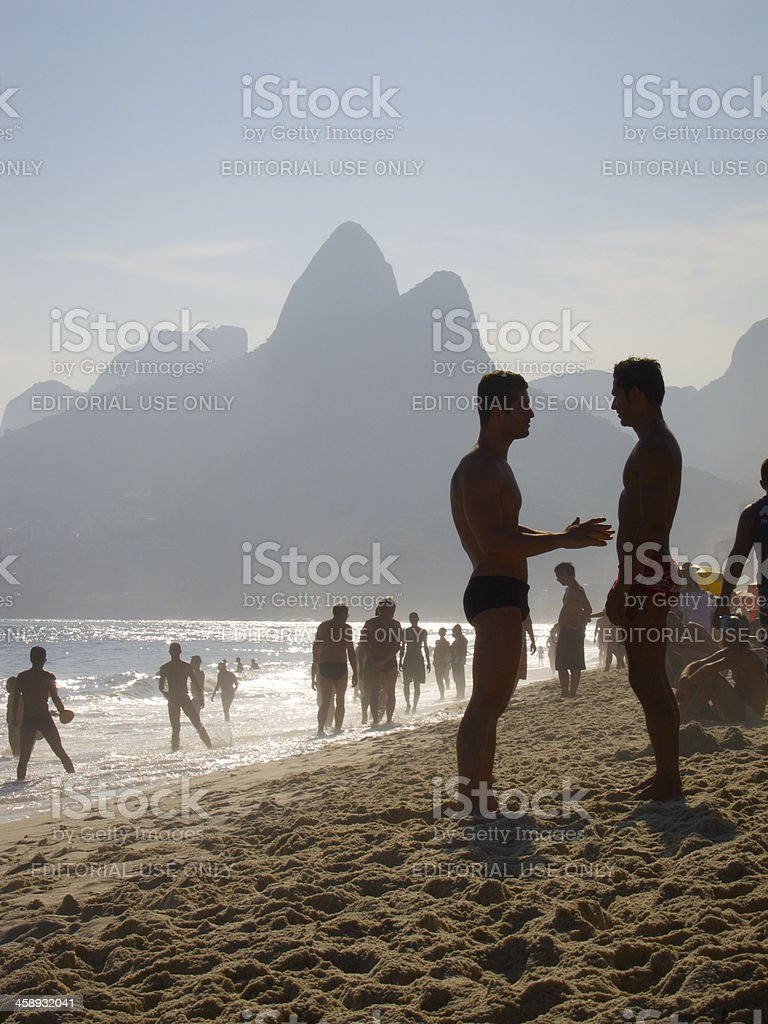 People Enjoying Ipanema Beach Rio de Janeiro Brazil stock photo