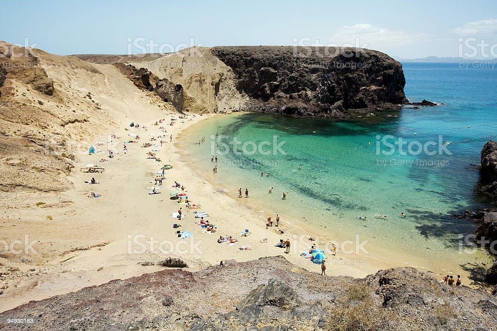 people enjoying life at smaller bay of Papagayo Beaches stock photo