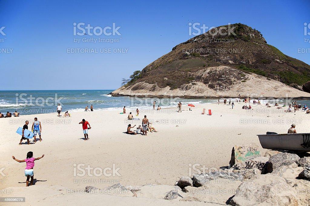 People enjoying Recreio Beach, Rio de Janeiro, Brazil royalty-free stock photo