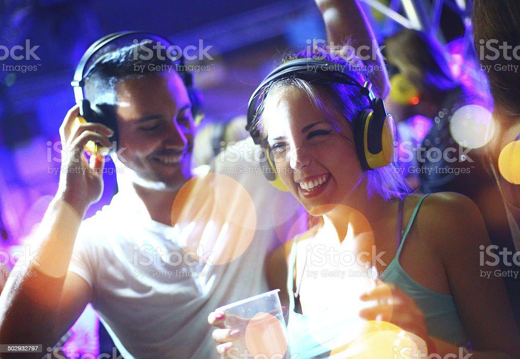 People enjoying silent party. stock photo
